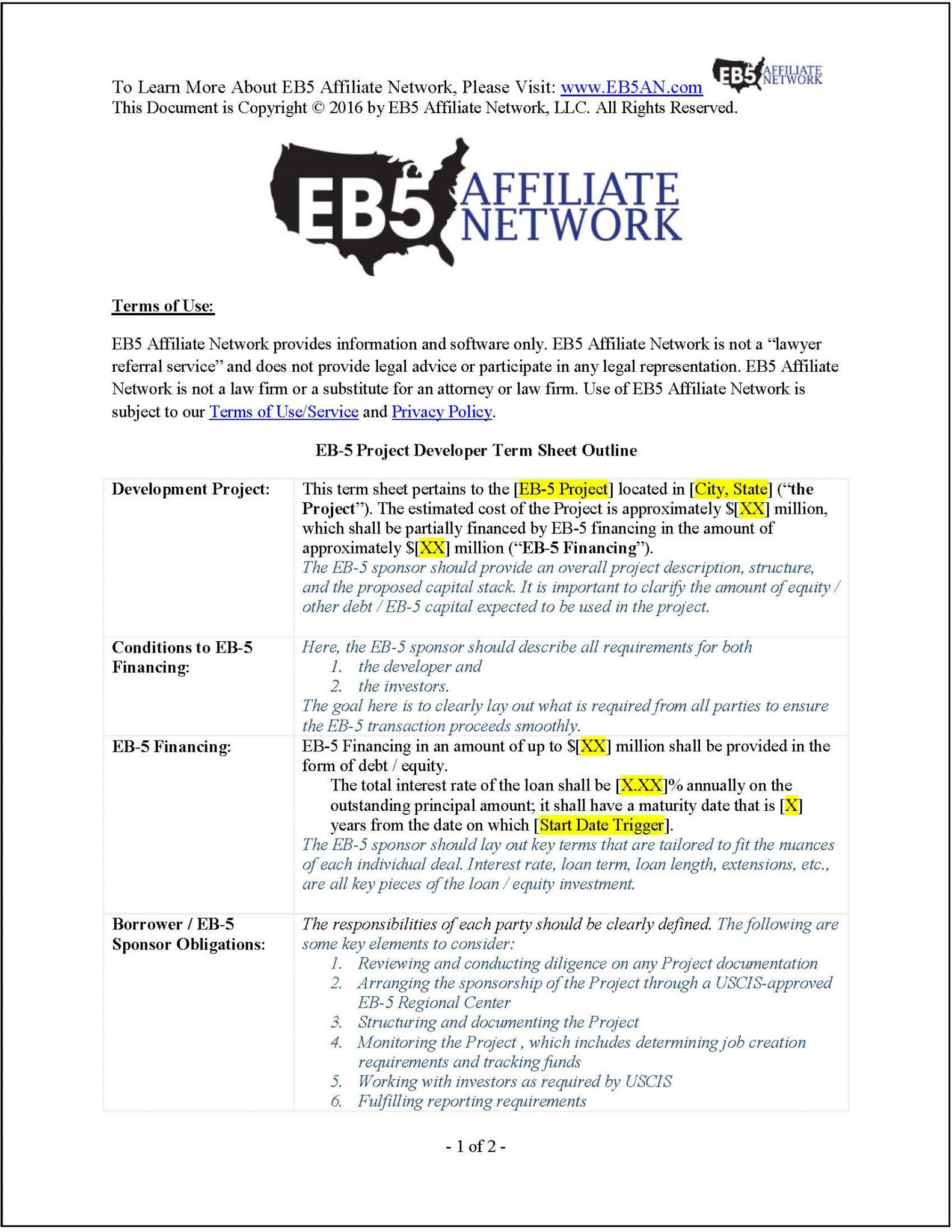 Sample eb 5 project developer term sheet for Investor term sheet template